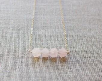 Rose Quartz Bar Necklace - Sterling Silver -