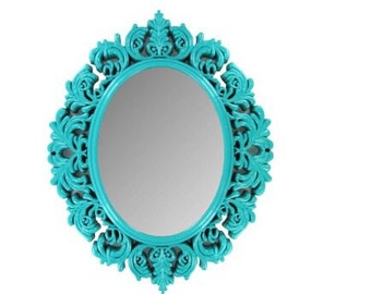 """18"""" Turquoise Victorian Mirror Shabby Chic Home Decor"""