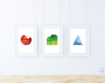 Geometric Waves of Colour - Printable Art (Set of 3 A4 Designs)