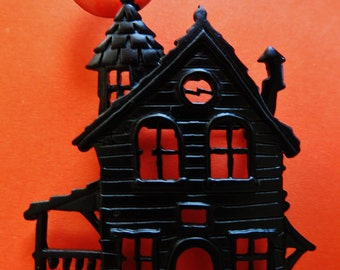 JJ Jonette Spooky Haunted Halloween House Brooch Pin