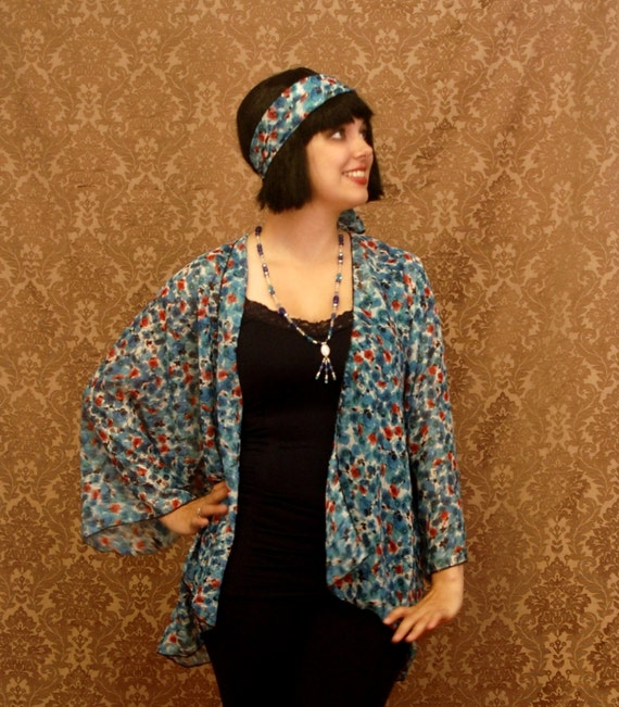 1920s Style Wraps Plus Size Poppies and CornFlowers Flapper ~1920s style Jacket ~ $41.97 AT vintagedancer.com