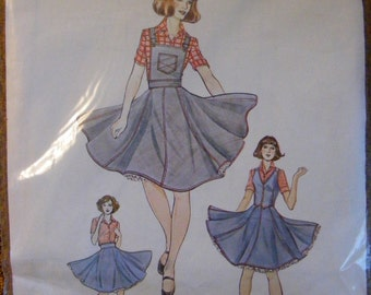 Square Dance Gored Skirt, Bib / Vest Misses' Sewing Pattern by Authentic Patterns 281 Size 12 14