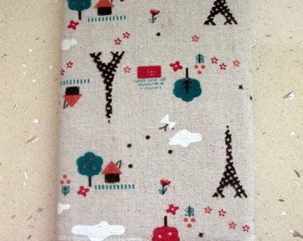 A5 Fabric Covered Notebook, Diary or a Journal. Reusable. Little Paris Linen Fabric. Fully Lined. For Teacher, Student. Back to school.