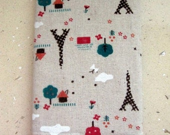 Fabric Covered Notebook, Diary or a Journal. Fits A5 Notebook. Reusable. Little Paris Linen Fabric. Fully Lined. For Teacher, Student.