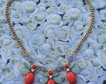 Red and Multicolor Statement Necklace