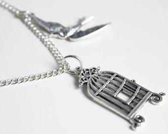 Birdcage & Bird Charm Necklace Quirky Jewellery