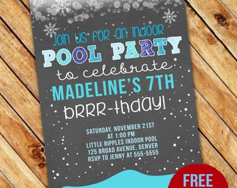Winter Indoor Pool Party Birthday Invitation - Printable - FREE pennant banner and thank you card with purchase