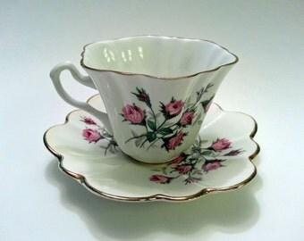 Tea Cup and Saucer, Lefton Bone China, Pink Rosebuds, Scalloped Edge, Gold Trimmed, Vintage