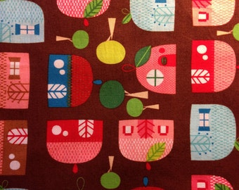 Robert Kaufman - Fabric - APPLEVILLE Houses in Chocolate by Suzy Ultman - Cottage - Quilting - Sewing - Home Decor - Crafting
