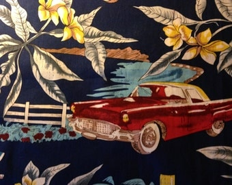 Hoffman California Fabric - Classic Cars - Thunderbird - Tropical - Floral - Quilting - Sewing - Novelty - Palm Trees - Home Decor
