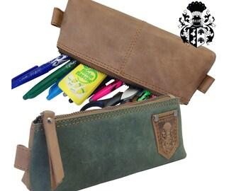 Pencil Case Cosmetic Bag HERAKLIT brown-oliv leather - BARON of MALTZAHN