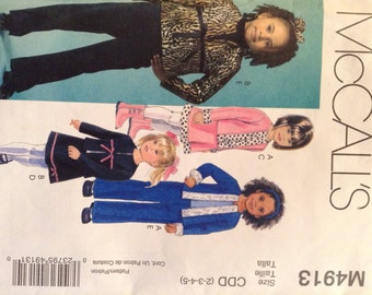 McCall's M4913 Girls jacket, skirt and pants in sizes 2-5