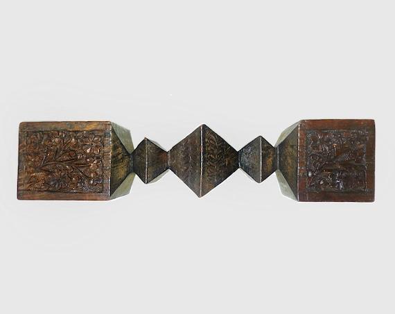 Antique relief carved wooden floral motif candlestick holder