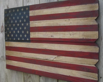 Rustic Wooden American Flag, 22 X 36 inches. Made from recycled fencing. Free Shipping X