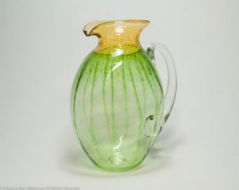 art glass pitcher signed Jeff Walker Robin Smith hand blown glass 1994, housewarming gifts, vintage art glass in beautiful condition