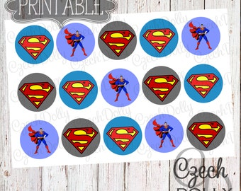Super Hero Super Man Bottle Cap Images 4x6 JPEG 1 inch Printable Bottle Cap Images {300dpi} INSTANT DOWNLOAD