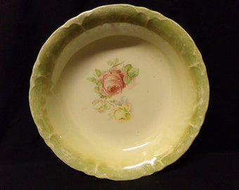 Vintage Pink and yellow Rose Vegetable Bowl