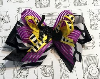 Black Cat Halloween Hair Bow