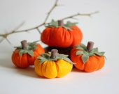 Set of Four Felt Pumpkins, Pumpkin Decoration, Halloween Decor, Thanksgiving Home Decor,Fall Decoration,Autumn Decor,Orange,Orange Pumpkin