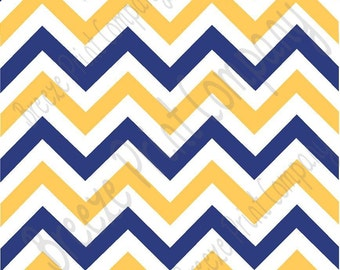 Navy blue, white and yellow gold chevron craft  vinyl sheet - HTV or Adhesive Vinyl -  large zig zag pattern sun yellow  HTV5006