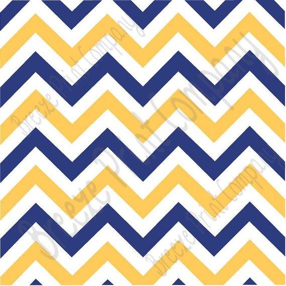 Navy blue white and yellow gold chevron craft vinyl sheet