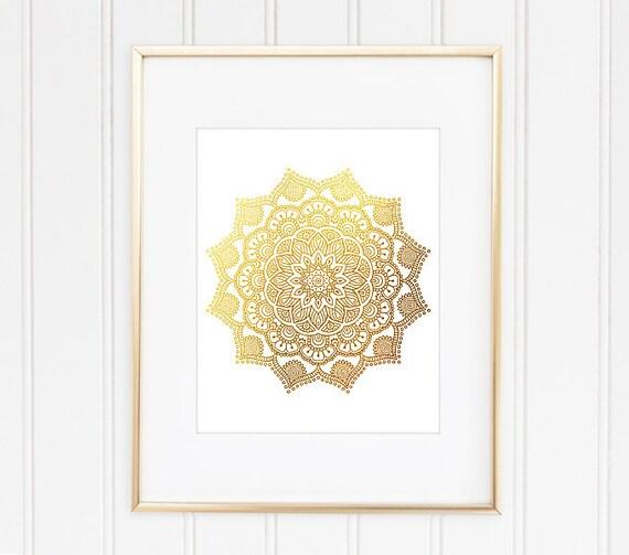 Mandala Art Print Faux Gold Foil Mandala Mandala Wall Art