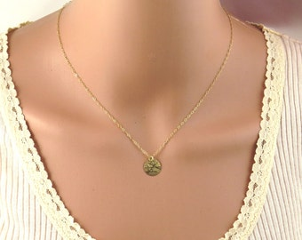 Gold disc necklace, gold coin necklace, gold filled disc necklace