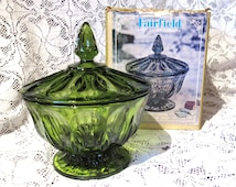 Vintage Green Glass Candy Dish Fairfield Pattern Glass - Comes in Original Box - Candy Dish is in Pristine Condition