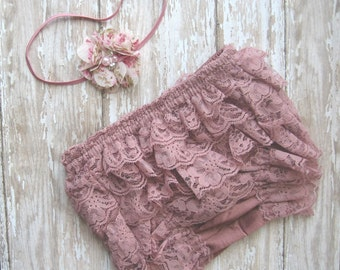Mauve bloomer, mauve lace diaper cover, dusty rose bloomer, mauve lace, dusty pink romper, lace bloomer, lace diaper cover, mauve headband