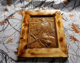 Wolf and Bald Eagle 3D Wood Carving Wall Hanging with Burnt Pine Frame