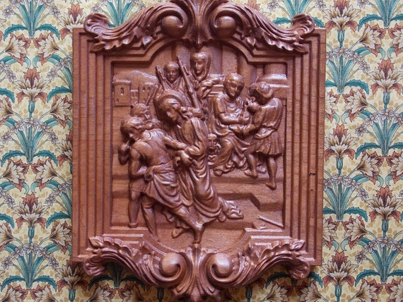 Station of the cross wood carving catholic st