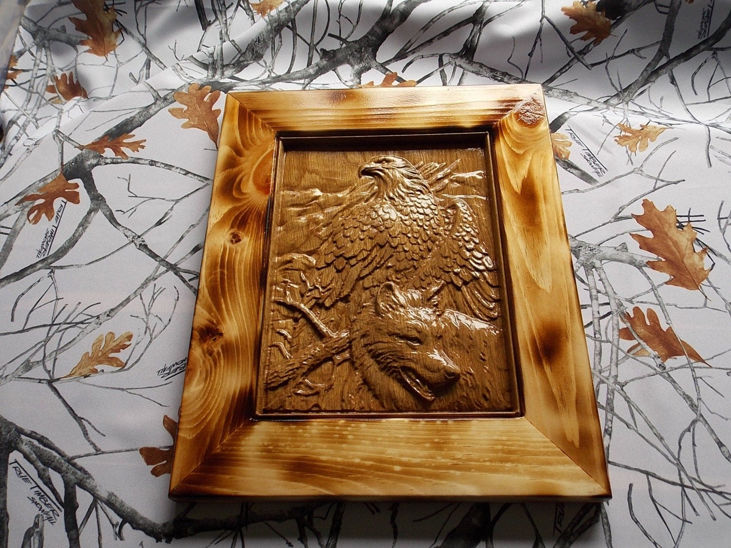 3d eagle and wolf wall art custom wood carving for Home decor items on sale