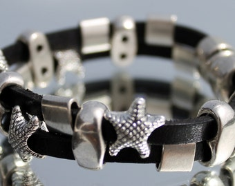 wide  Leather Bracelet with starfish
