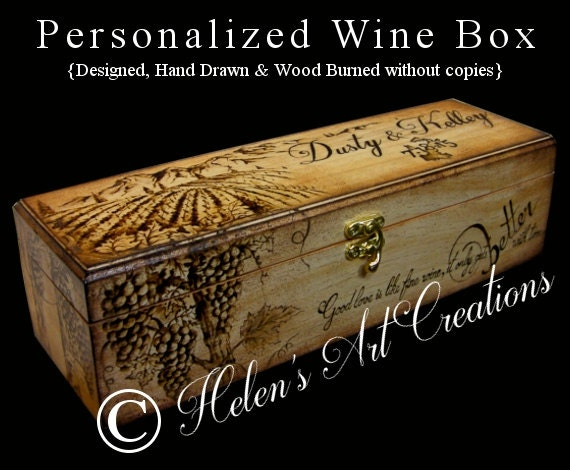 Personalised Wedding Gifts Wine : Wedding Wine Box Personalized Wine Box Rustic Wedding Gift