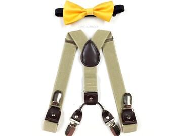 baby boy clothes, yellow bowtie, beige suspender, double clip suspenders, boys suspenders, yellow bowtie, khaki suspenders, suspenders,