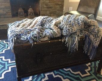 Crochet blue baby blanket, fringe baby blanket, light blue blanket, gray blanket
