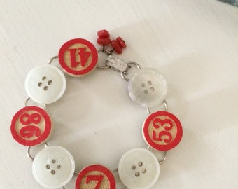 Repurposed Button and Game Piece  Bracelet