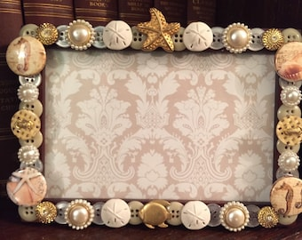 SALE Shell Button Picture Frame