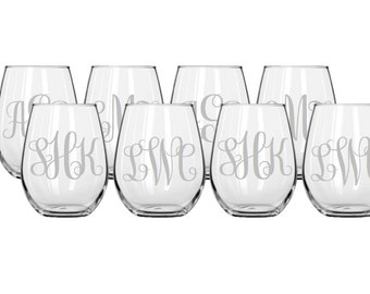 Set of 8 Monogrammed Stemless Etched Wine Glasses