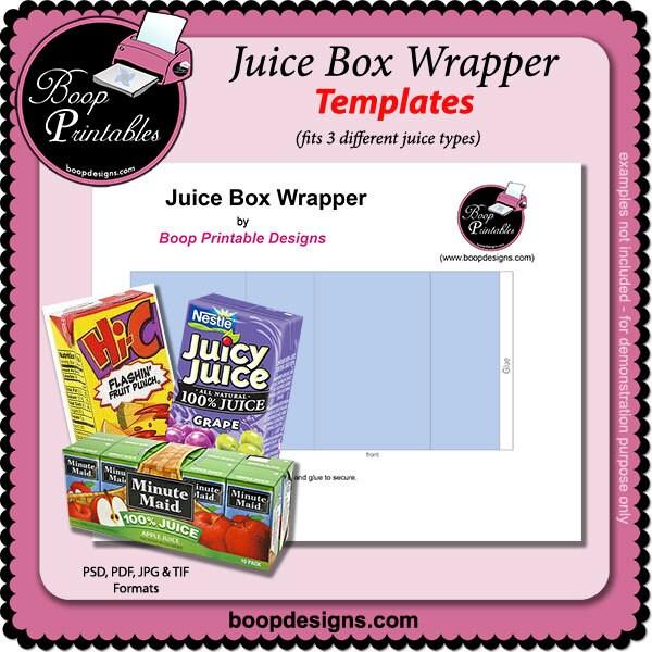 Juice Box Wrapper Template