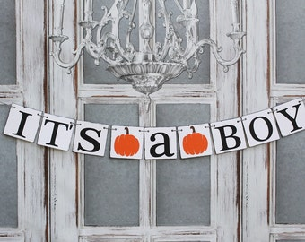 ITS a BOY - BABY Shower Banners - Rustic Fall Pumpkin Baby Shower