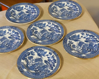 Six Arklow Ireland Vintage Willow Pattern Coasters