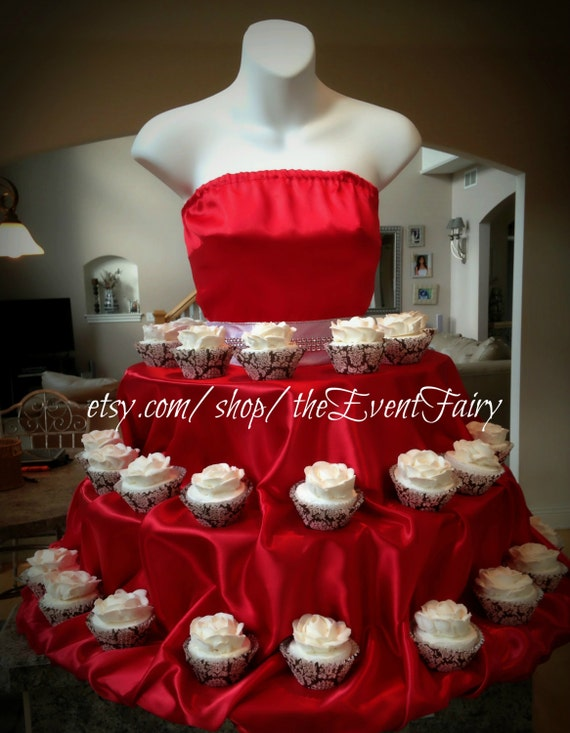 Red couture cupcake stand holiday