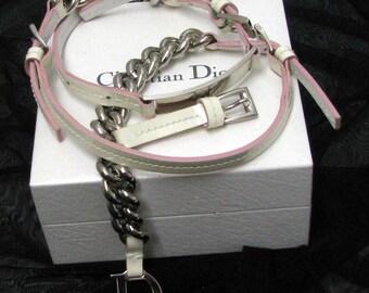 White leather belt CHRISTIAN DIOR varnish, vintage