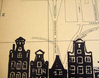 Amsterdam lino print, one-of-a-kind, canal houses hand-printed onto 1964 gemeente map, Sloterdijk. Signed, unframed.