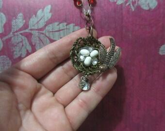 Bird with nest necklace - bird necklace - necklace