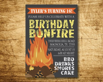 Bonfire Birthday Party Invitation