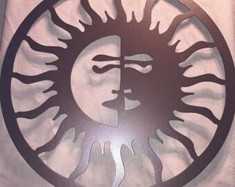 Outdoor Metal Art- Sun Moon, Outdoor Art, Pool Art, Custom Metal Art, Metal Wall Art