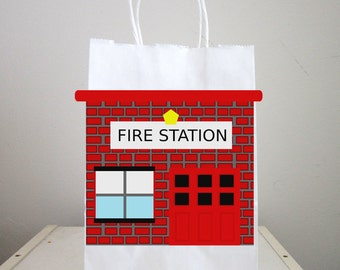 Fire Station Goody Bags, Firetruck Goody Bags, Firetruck Favor Bags, Fireman Birthday Goody Bags, Firefighter Goody Bags