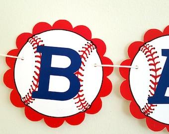 Baseball Baby Shower Banner - Baseball Banner - Baseball Birthday Banner - Red Scallop Circle Baseball Banner